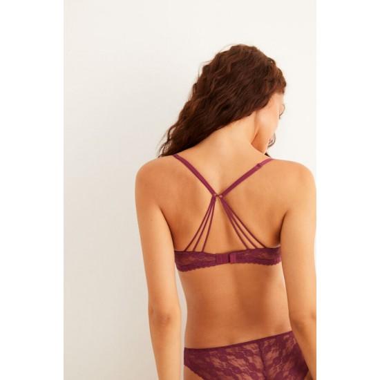 Maroon lace push-up bra