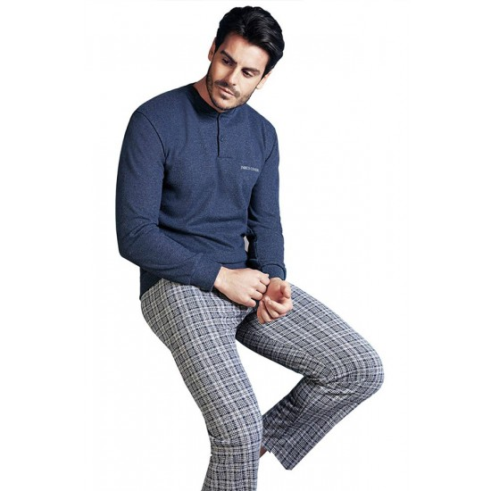 Enrico Coveri blue melange punto milano men's winter pyjamas with plaid pants EP5048